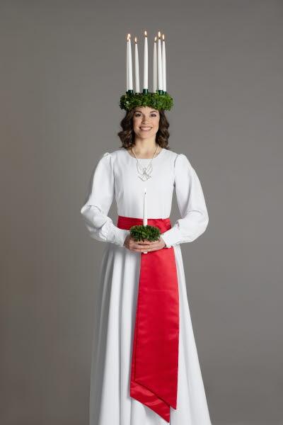 Finlands Lucia 2019 Sara Ray. Foto: Folkhälsan/Henrik Schütt